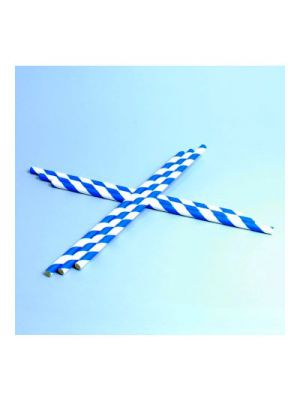 Pajita en papel rayas azules para refrescos - 6mm x 20cm