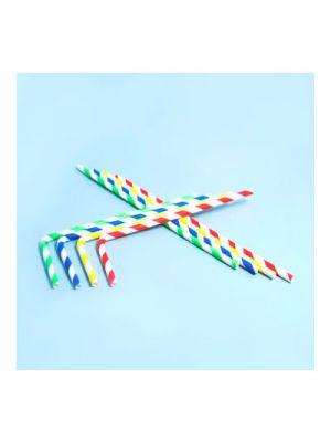 Pajitas para beber flexibles de papel. Colores surtidos - 6mm x 22cm